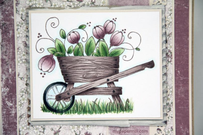bursdagskort Papirplaneten Magnolia Tulip Wheelbarrow