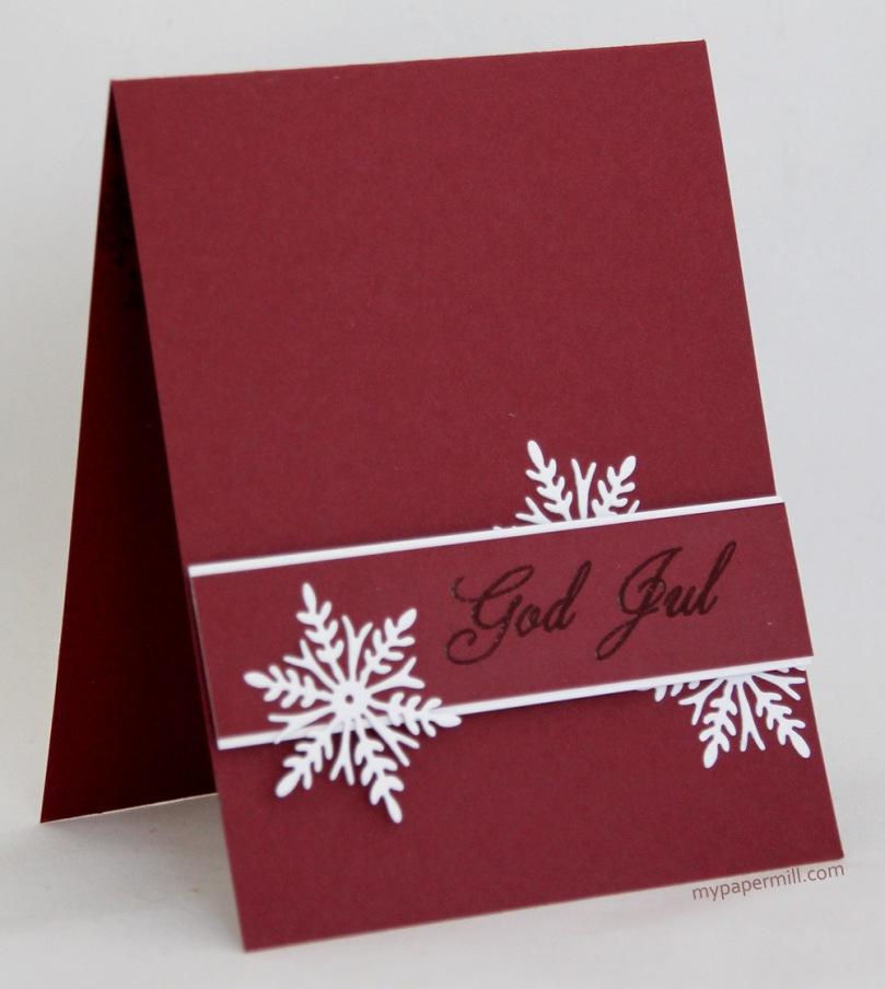 rødt C&S julekort Penny Black skrått