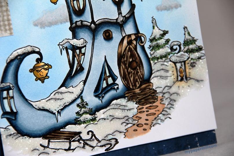 julekort MIC front detalj glitter