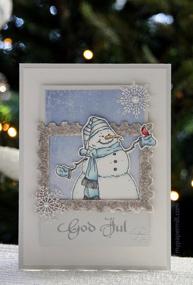 blått snømannkort front