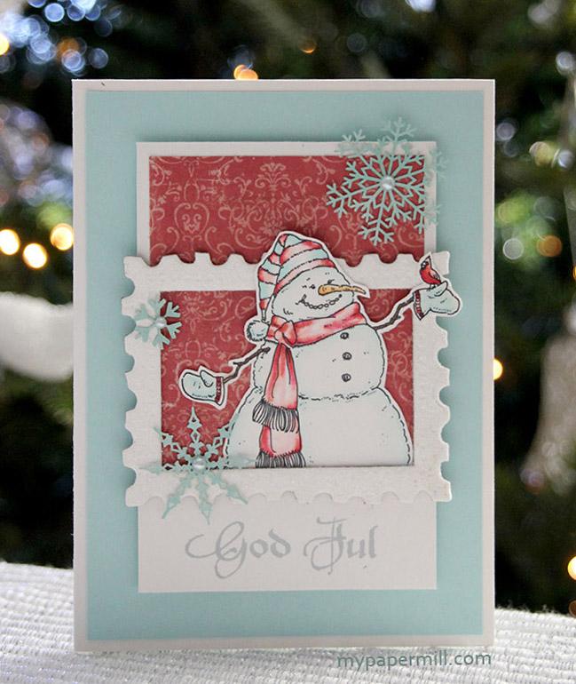 rødt snømannkort front