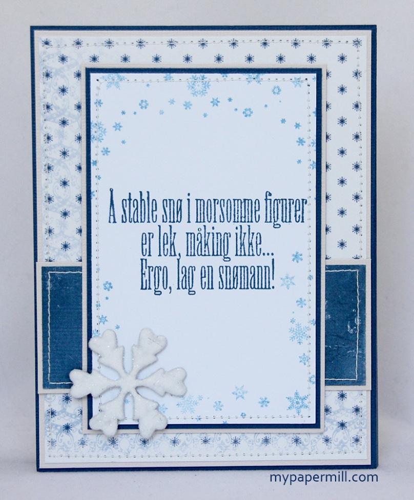 Ett Trykk 0515 Julekort etter skisse Mo Manning Giggling Snowman bakside blogg