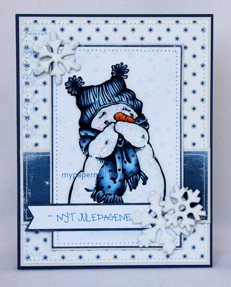 Ett Trykk 0515 Julekort etter skisse Mo Manning Giggling Snowman front blogg