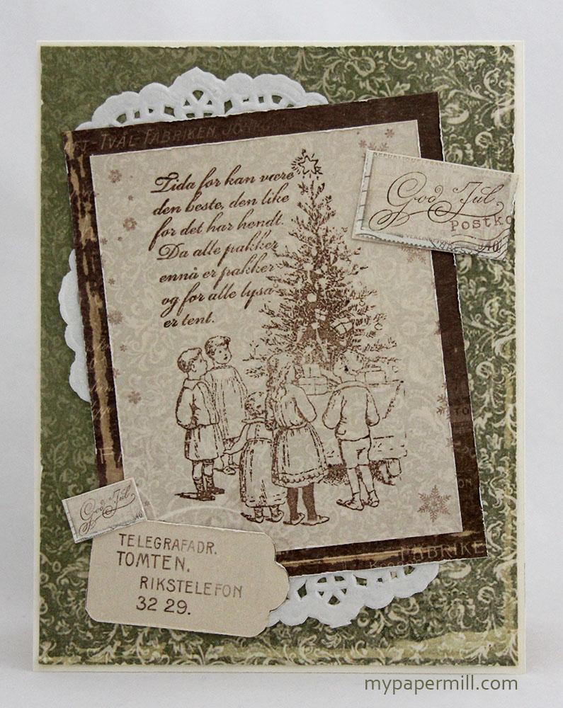 grønt julekort forside rett