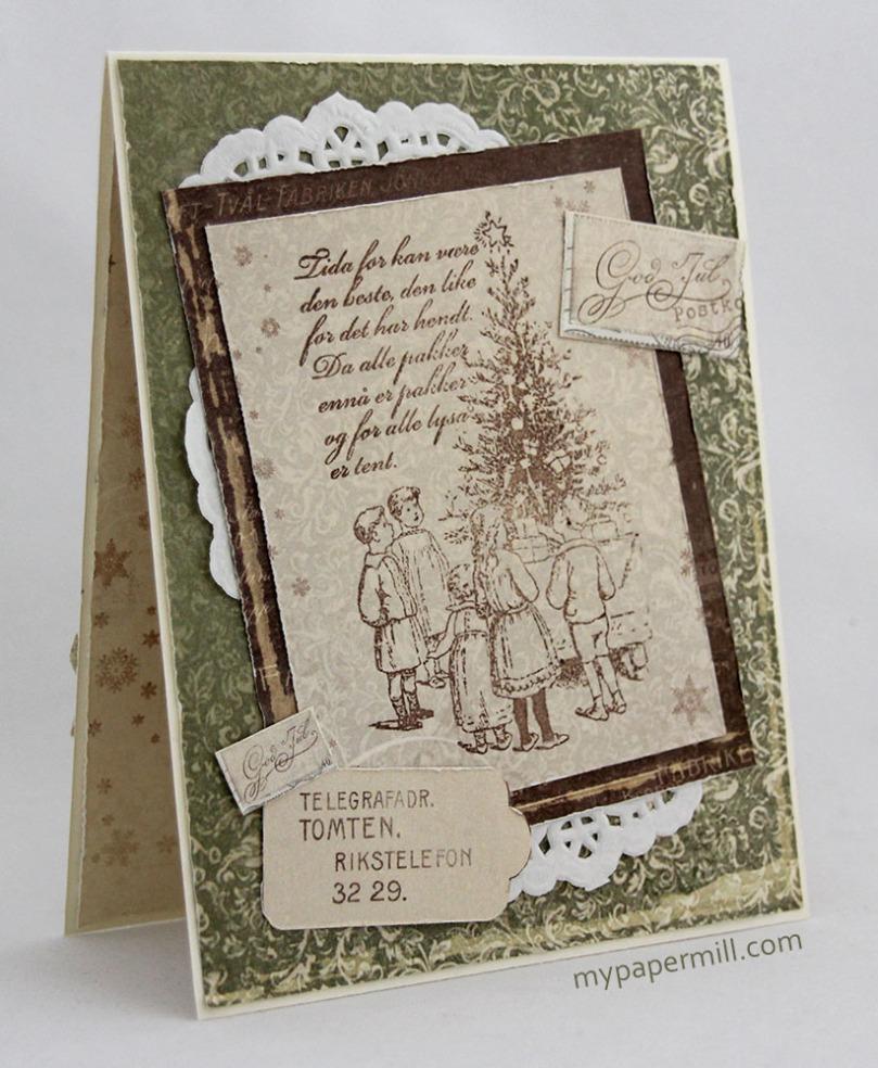 grønt julekort forside