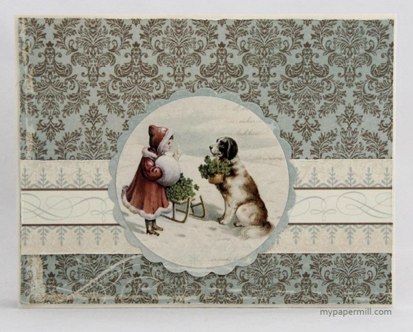 julekort med jente og hund bakside