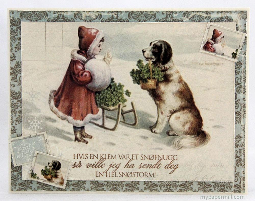 julekort med jente og hund front
