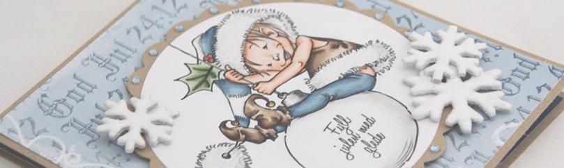 Mo Manning Little Elf Finn julekort front skrått PS