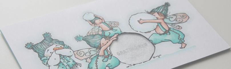 Mo Manning Giggling Snowman Fairy Christmas mor bursdag front skrått PS