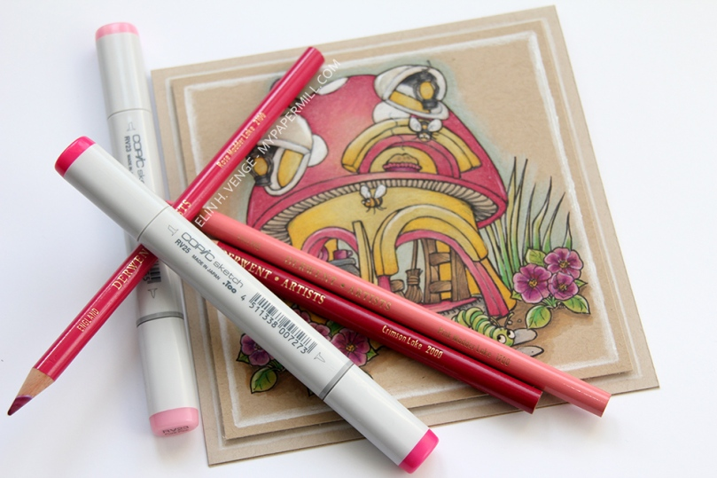 Mo Manning Mushroom Hut med Copics og blyanter