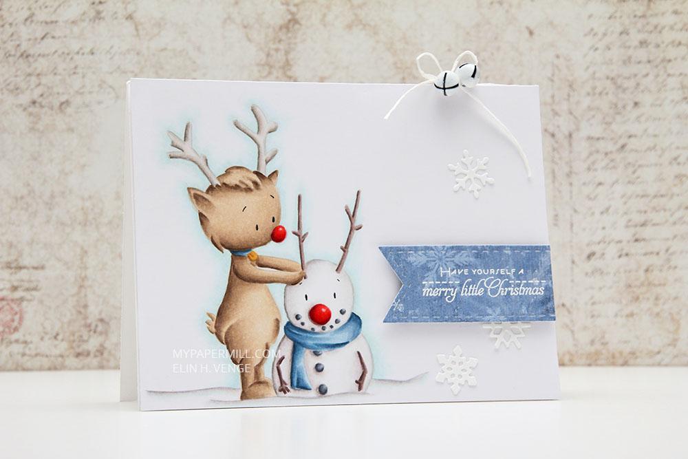 Julekort Kinda cute by patricia Reindeer Snowman front