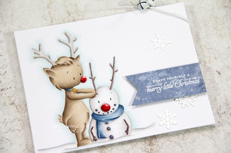 Julekort Kinda cute by Patricia Reindeer Snowman liggende