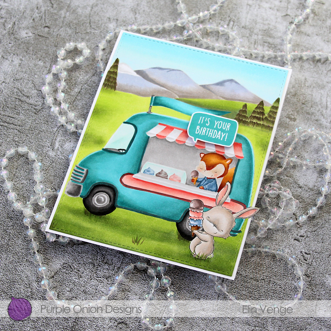 Elin Venge - Marigold and Ice Cream Truck and Mountains birthday card flatlay right