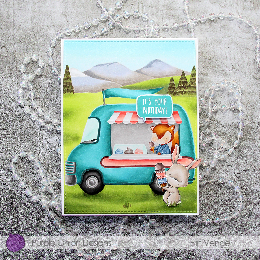 Elin Venge - Marigold and Ice Cream Truck and Mountains birthday card flatlay