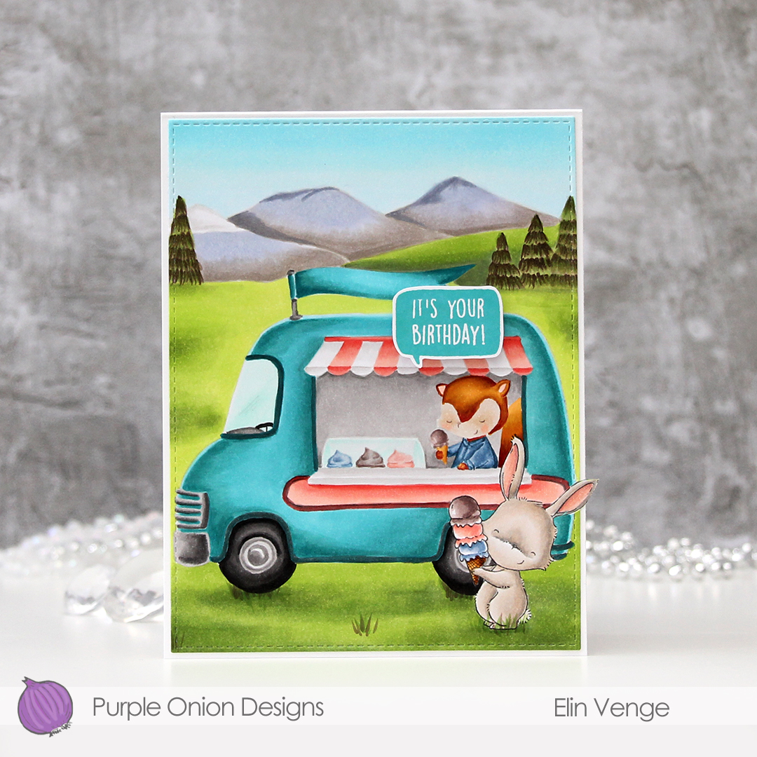 Elin Venge - Marigold and Ice Cream Truck and Mountains birthday card front straight