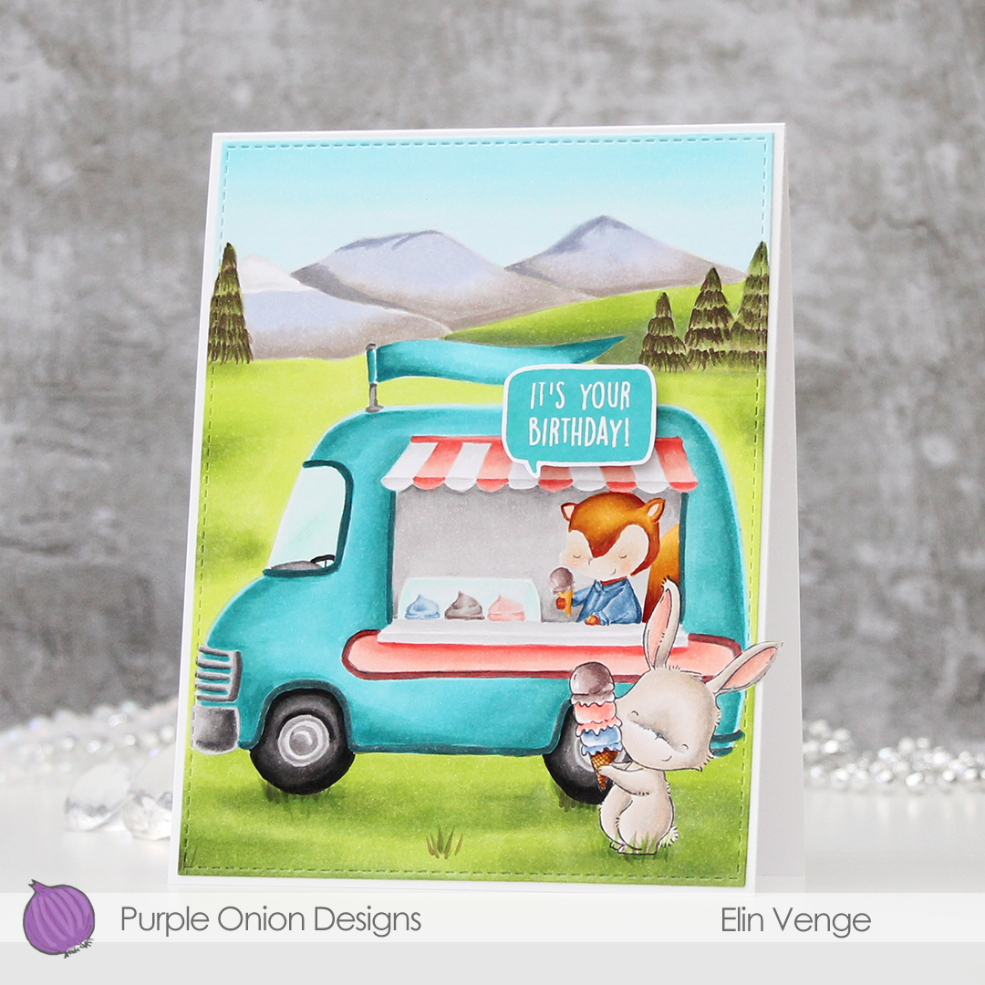 Elin Venge - Marigold and Ice Cream Truck and Mountains birthday card front