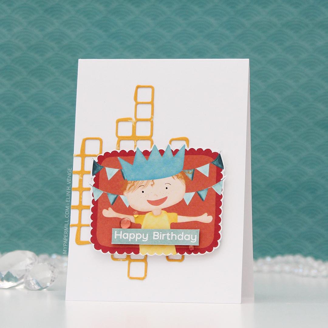 HK P13 Happy Birthday barn med krone front skrått