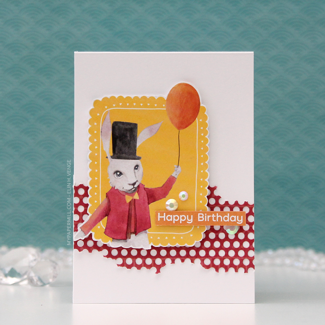 HK P13 Happy Birthday kanin med ballong front