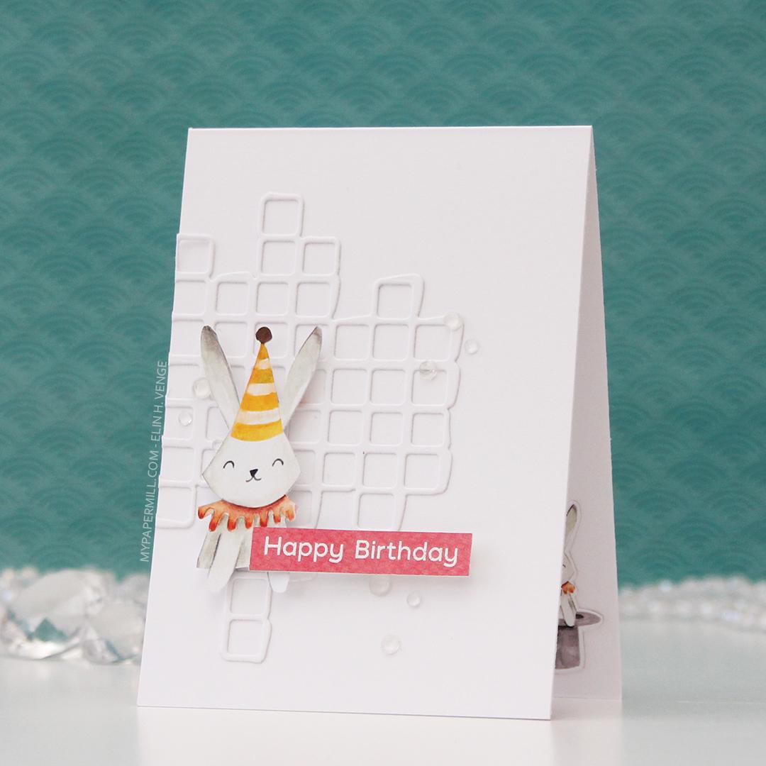 HK P13 Happy Birthday kanin med hatt front skrått