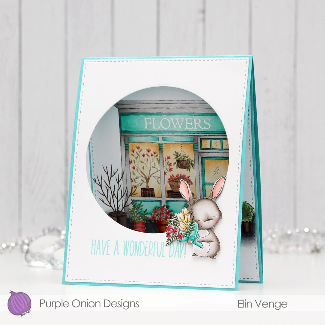 Purple Onion Designs - Elin Venge - Junie Flower Shop tri-fold front angled
