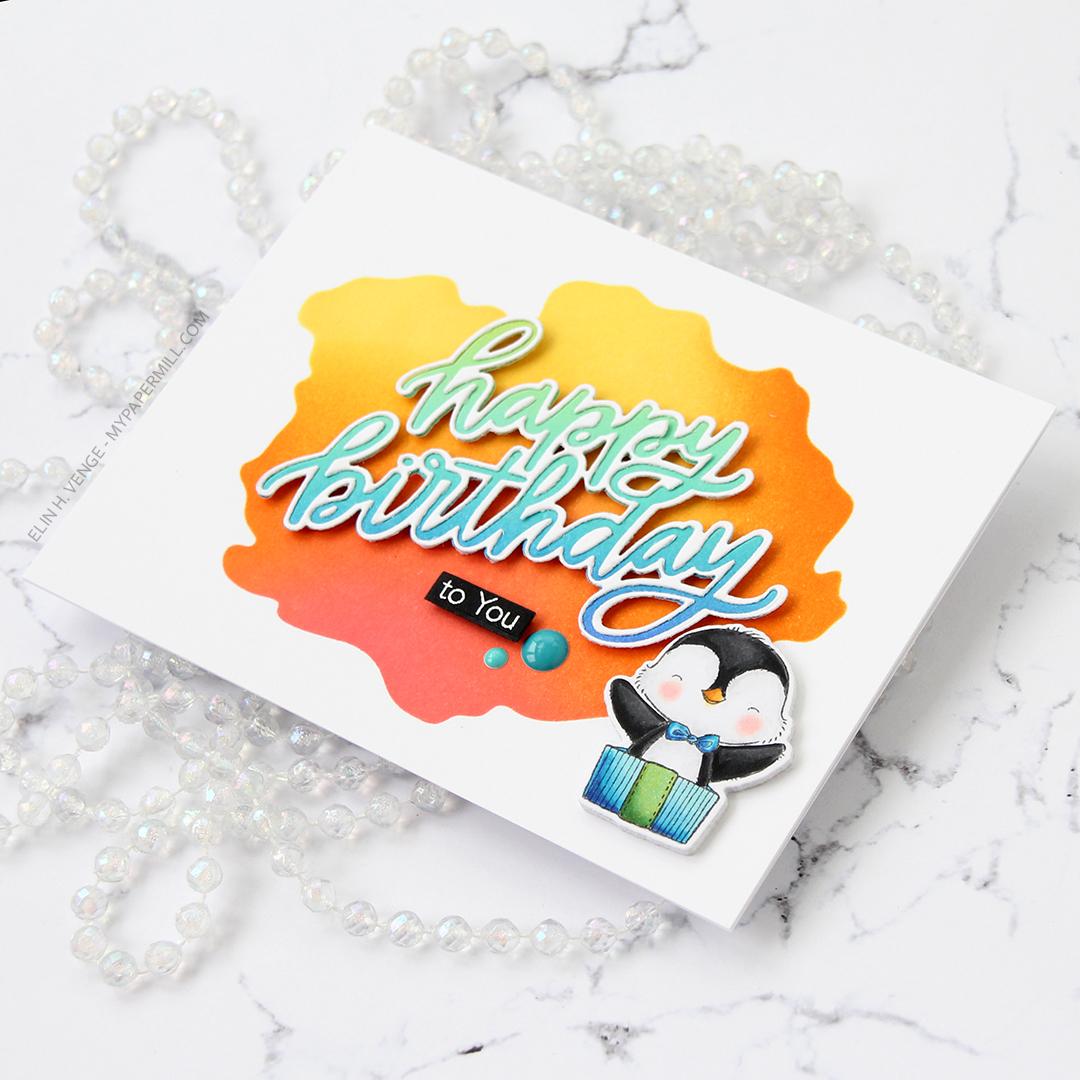 My Favorite Things Penguin Party happy birthday liggende flatlay høyre