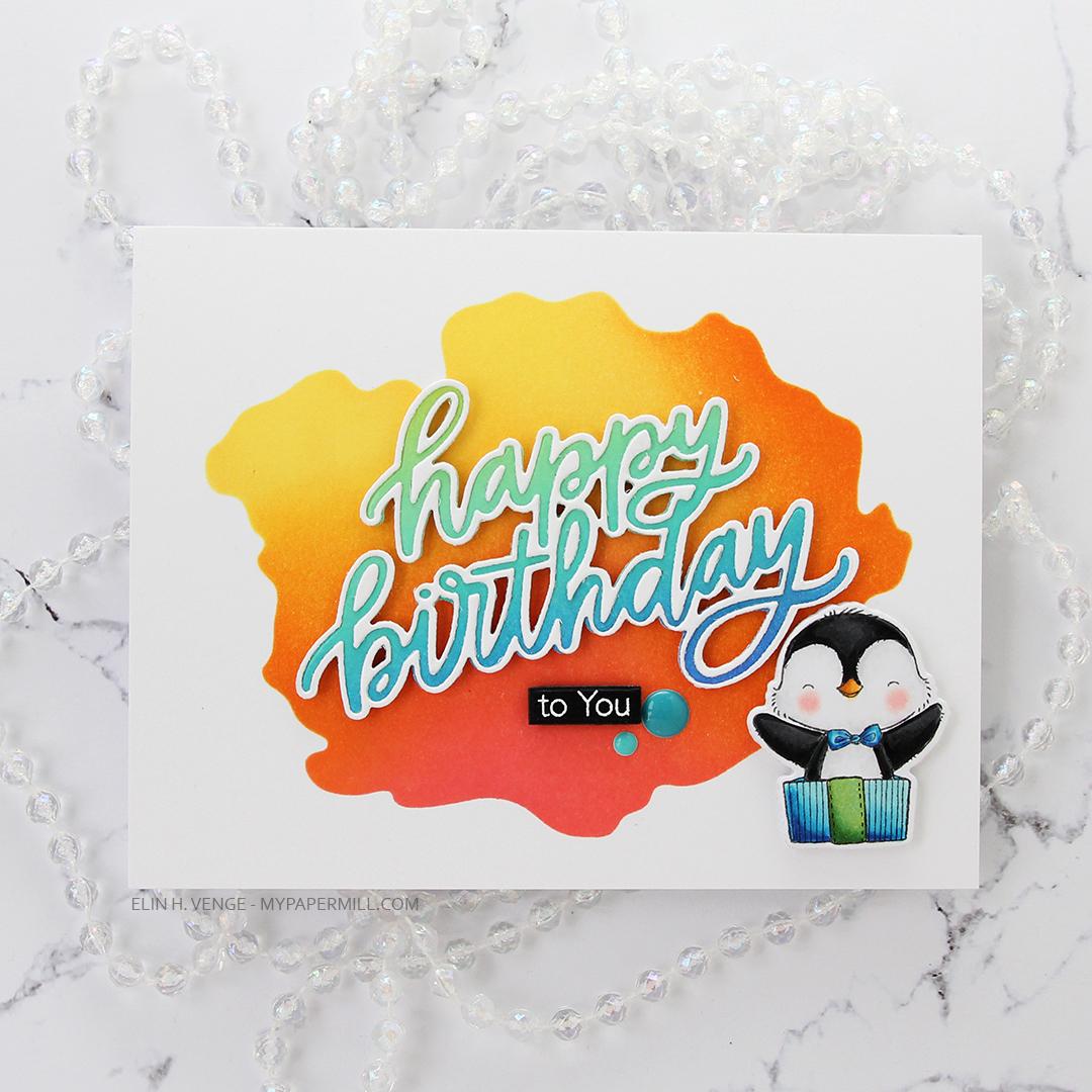 My Favorite Things Penguin Party happy birthday liggende flatlay rett