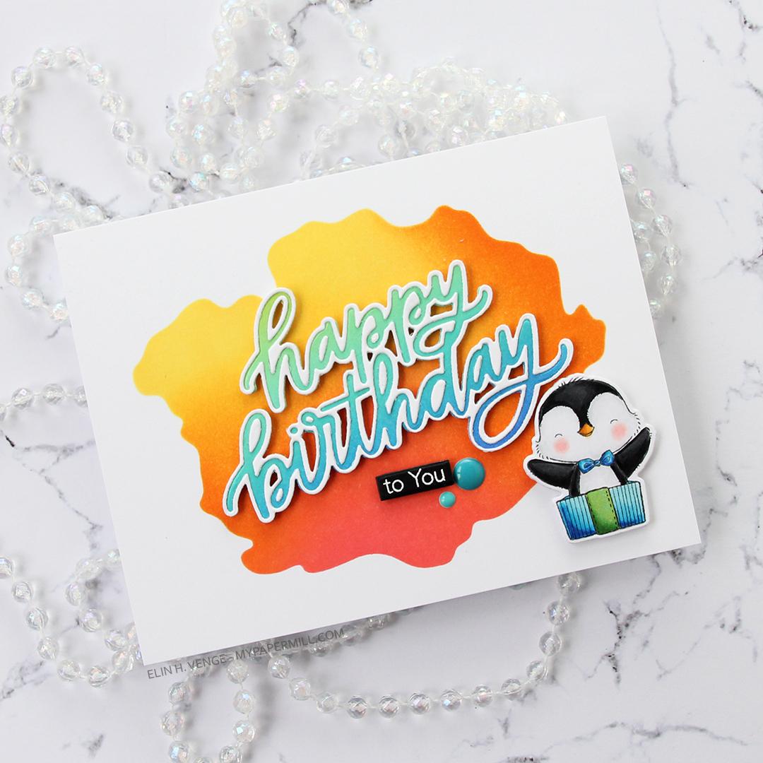 My Favorite Things Penguin Party happy birthday liggende flatlay skrått