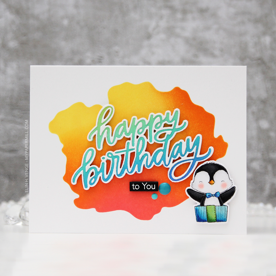 My Favorite Things Penguin Party happy birthday liggende front rett