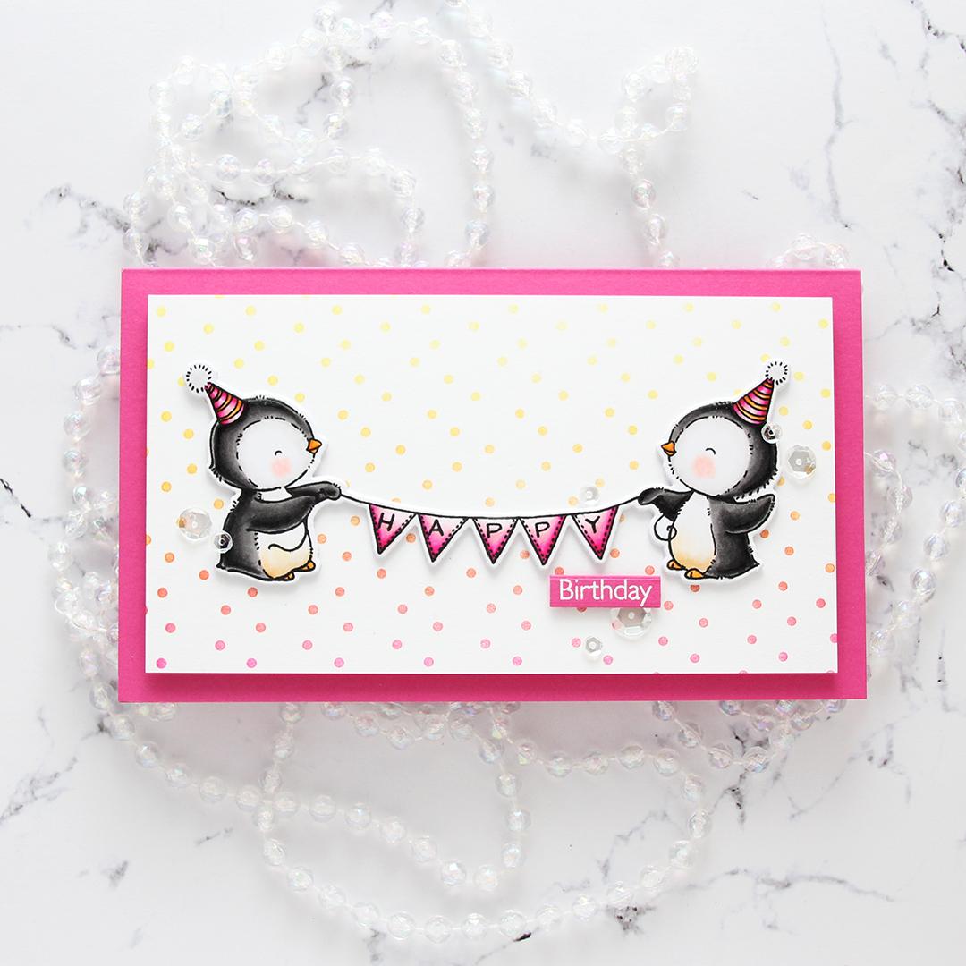 My Favorite Things Penguin Party Happy Birthday minislimline flatlay rett