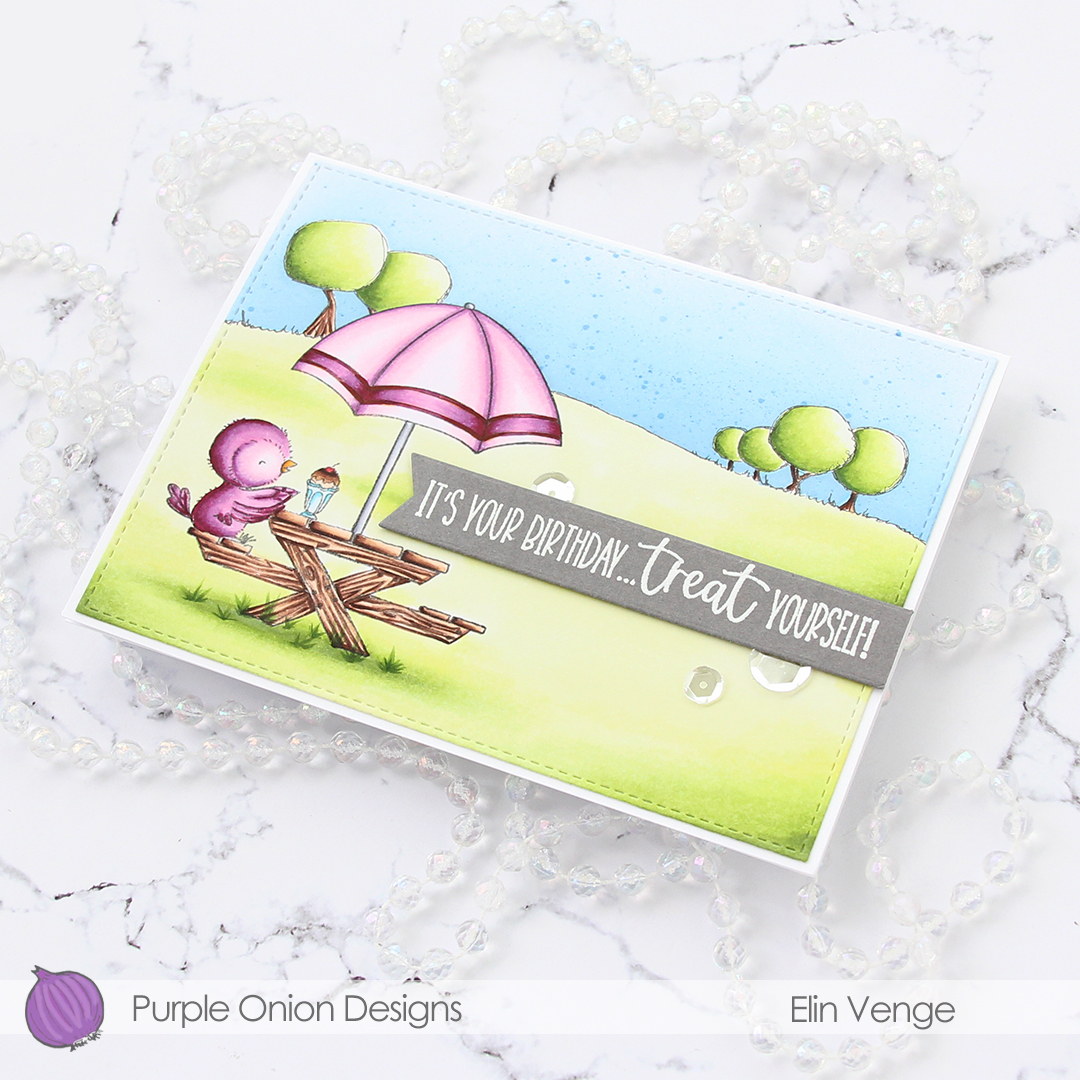 Purple Onion Designs - Elin Venge - Juliet Tree Line Horizon Sunshiny Sentiment set angled