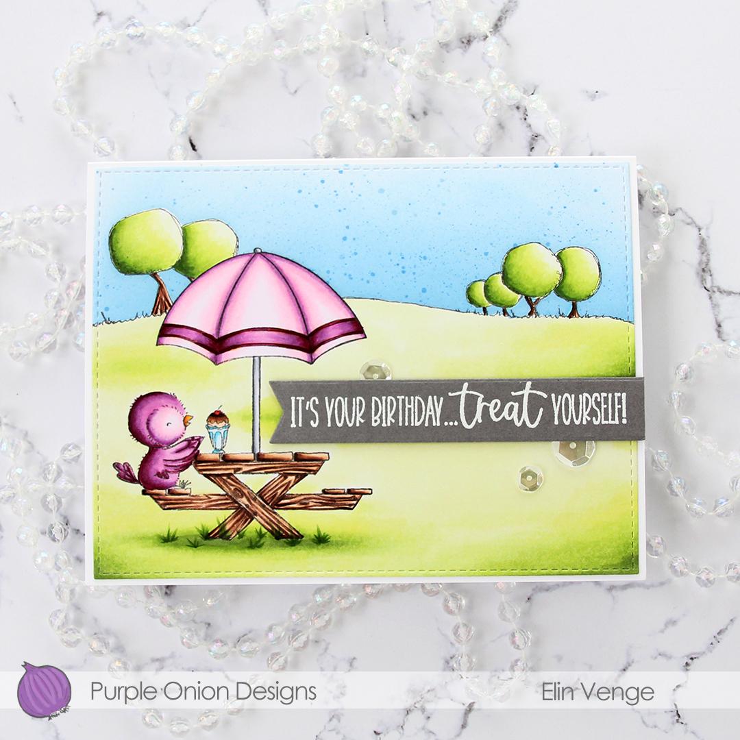 Purple Onion Designs - Elin Venge - Juliet Tree Line Horizon Sunshiny Sentiment set flatlay