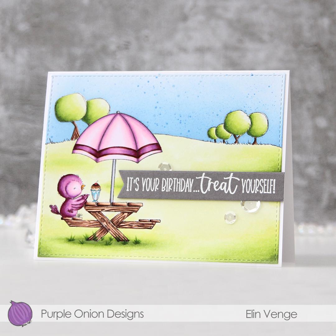 Purple Onion Designs - Elin Venge - Juliet Tree Line Horizon Sunshiny Sentiment set front angled