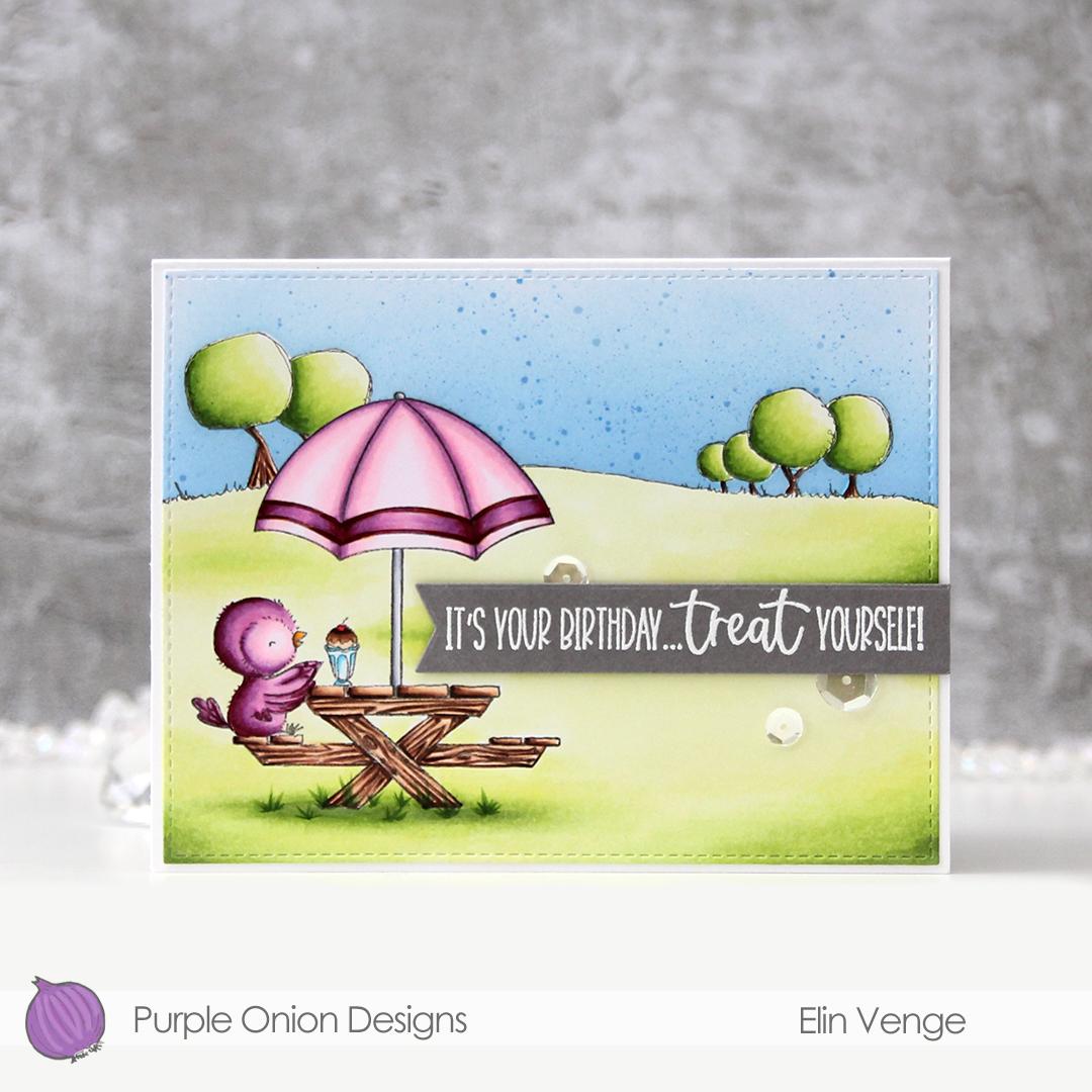 Purple Onion Designs - Elin Venge - Juliet Tree Line Horizon Sunshiny Sentiment set front straight